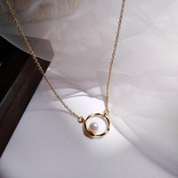 Pendant Necklaces Luxury Fashion Simple Round Design Pearl Necklace Gold Color For Women Korean Style Jewelry Gift
