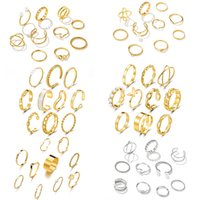 10pcs set Punk Wide Chain Ring Set For Women Girls Pearl Fashion Infinity Butterfly Waves Finger Thin Rings Gift Female Jewelry Accessories Party