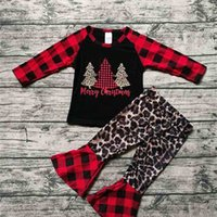 Christmas Xmas Tree Print pajamas set kids girls Classic buffalo plaid blouse pullover hoodie T shirt tops and flare pants 2-piece Xmas outfits clothing G02WV07