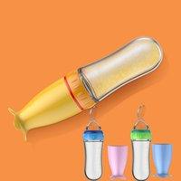 비스원 90ml 아기 짜기 먹이 숟가락 안전 실리콘 훈련 아기 병 숟가락 유아 시리얼 음식 피드 스푼 베이비 가제트 1169 Y2