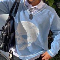 Donne Y2K Maglioni Skulls Pullover con scollo a V Maglieria per maglia Allentati Casual Maglione maglia Top Streetwear 2021 E-Girl Jumper Donna femminile