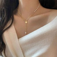 Pendant necklaces Huge Bud Chain 14K Real Gold Plated Pearl Hanger Collars Collier Designer Jewelry Luxury For Girl Women Choker J0722
