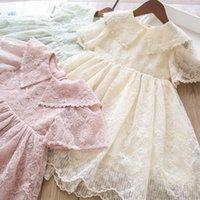 여자 레이스 꽃 수 놓은 드레스 여름 어린이 옷깃 플레어 슬리브 거즈 공주 드레스 키즈 파티 의류 A6417