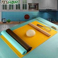 Nova cor silicone não-stick espessamento esteira escala cozinha ferramenta de cozimento pastelaria bolo placa grande alta temperatura rolando massa pad 210401