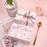 Unicorn Swan Lake Design 10 sztuk 15 * 10 * 9 cm Paper Box Candy Cookie Jar Świeca Wedding Party Boże Narodzenie DIY Prezent Opakowanie