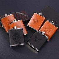 Premium Home Leather 7oz Pocket 304 Stainless Steel Portable Man Mini Luxury Metal Wine Jug Wholesale
