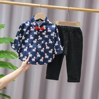Clothing Sets IENENS Long Sleeve Shirts Pants Set Baby Clothes Children Bow Tie Suits Spring Kids Party Wear 0-3 Years Boy's Outfits