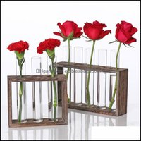 Décor & Gardentest Tube Rack Planter, Transparent Hydroponic Flower Clear Vase With Wood Stand Frame Perfect For Coffee Shop Home Vases Drop