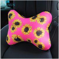 Cojines de asiento Lingxun Viajes de coche Cuello de almohada Accesorios interiores Girasol de girasol Rebound Memoria Espuma reposacabezas LB122