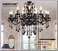 Art Deco Chandelier Light Fixture Vintage Black Crystal Wrought Iron Pendant Suspension Hanging Lamp Indoor Lighting for Bedroom