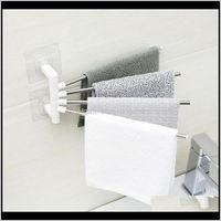 Racks Anti-Rust Rack Steel Rotating Bath Rail Hanger Towel Holder Swivel Bars Bathroom Wall Mounted En4Aa S2Mpa
