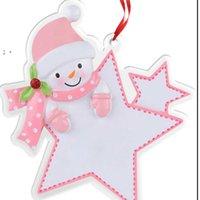 Blood acrylique Snowman Noël Carte de voeux de Noël de Noël Partie de Noël ornements de porte d'étoile Forme de Noël Arbre de Noël Suspending Chrams Bague OWB10132