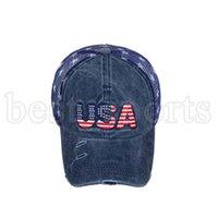USA Cowboy Chapeaux Trump American Baseball Casquettes lavées Drapeaux américains Drapeaux Stars Mach Cap Sunshade Party Hat Cyz3286