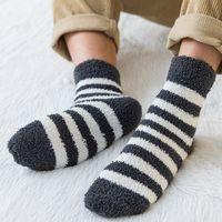 Striped Socks Men Thick Coral Velvet Winter Warm Socks Soft Man Fluffy Home Indoor Floor Terry Towel Fuzzy Sock Mens Male Meias