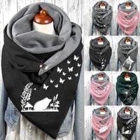 Scarves Women Scarf 2021 Winter Fashion Printing View Art Print Button Szalik Functional Soft Wrap Casual Warm Shawls