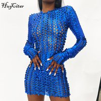 Dresses Hugcitar Long Sleeve Cut Out Solid Ny Sexy Mini Autumn Winter Women Fashion Party Club Elegant Outfits