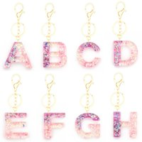Letter Pendant Keychains Resin Key Rings For Women Cute Car Acrylic Glitter Keyring Holder Charm Bag Couple Bag Gifts