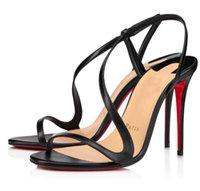 Lujosas sandalias de verano Zapatos de vestir elegante rojo inferior Rosalie bombas de tacones altos tacones de strippy fiestas de bodas Sandale Sandale Box EU35-43