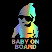 Car Sticker 14*9CM New BABY ON BOARD Funny Reflective Sunglasses Child Stickers and Decals Vinyl Car Styling