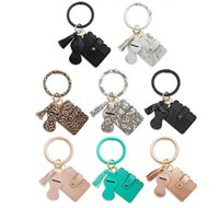 8 Styles Leopard PU Lether Bracelet Keychain with Card Bag Lipstick Case Tassels Portable Wrist Bags Rossetta Cover Q124