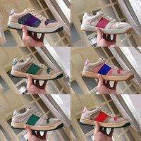 hombres Gucci plataforma Retro poco zapatos sucios del rhinestone de las mujeres nueva pareja deportivos rojos netos zapatillas de deporte de los zapatos del tablero casuales