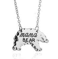Jewelry Personalized letter mama wolf Mama Bear Polar bear Animal Pendant Necklaces Gold Silver Mother Necklace Mothers Day Gift ps0896