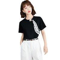 الكورية الأسود قصيرة الأكمام المرأة بلايز 2021 تصميم الصيف معنى البولكا نقطة وشاح القوس التعادل تي شيرت المرأة قمم تنقية المرأة