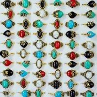 Hot Selling Fashion Retro Enamel Diamond Gold-plated Gemstone Ring Natural Stone Wholesale Women's Jewelry