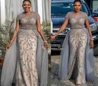 2021 Plus Size Arabic Aso Ebi Luxurious Beaded Crystals Prom Dresses Sheer Neck Lace Sexy Evening Formal Party Second Reception Gowns ZJ464