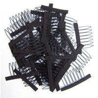 50 pcs couleur noire perruque peignes pinceaux de perruque et peignes avec 5teeth pour Perruk Cap et perruques Faire des peignes d'extensions de cheveux