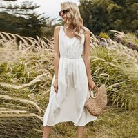 Boho Chic White Apron Dress Sleeveless Strap Vintage Drawstring Waist Slip Sundress Fashion Women Wedding Summer Beach Casual Dresses