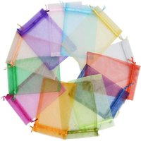 Eyelashes Bags 10x15cm, Colorful Organza Bag 50 100pcs, 12 Colors Sheer Drawstring Jewelry Pouches Wedding Party Favor Gift False