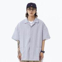 작은 격자 무늬 seersucker 셔츠 망 여름 얇은 옷깃 반 소매 포켓 셔츠 캐주얼 느슨한 반소매 체크 무늬 남자 남자