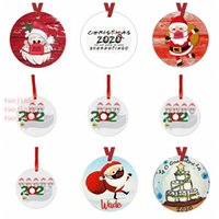 Christmas Tree Hanging Pendants Ornaments 2020 Family Handwritten Name Greeting Doll Face Mask Snowman Home Christmas Decorations VT1790
