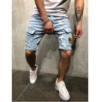 Yeni Yaz Denim Şort Işlemeli erkek Kot Şort Hip-Hop İnce Mavi Lig Mavi Çok Cep Tulum S-3XL1