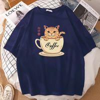 Women's T-Shirt Coffe Cat Cartoon Catana Prints Tops Short Sleeves T Shirts Fashion Cotton T-Shirts Oversized Crewneck Tshirts Womens