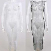 2021 Designer Schritt in das Mode-Gitter, Flash Diamant Rundhals-Frauenkleid Frühling und Sommer für Frauen
