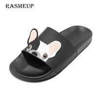 RASMEUP Leather Women's Slippers Summer Women Open Toe Beach Bulldog Seaside Shoes Indoor Home Casual Woman Slides 210609