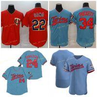 Mens 22 Miguel Sano Baseball Jerseys 24 Josh Donaldson 34 Kirby Puckett 빈 스티치 FlexBase 멋진 기본 팀 레드 블루