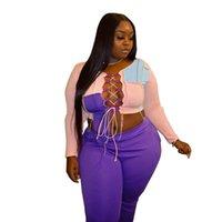 Plus Größe 2 Stück Set Frauen Hosen Sets Bandage Patchwork Crop Top Sweatpants Trainingsanzug Club Outfits Großhandel Tropfen Frauen Zwei