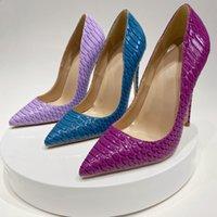 12cm Stilletto Heel Women Shoes Sexy Snakeskin Patten Thin Heels Designer Pointy Toes Slip On Party Ladies Pumps Woman Dress Shoe Boots