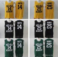 Le prince frais de Bel-Air Academy # 14 Will Smith Jersey Mens bon marché Couleur Noir Jaune Jaune Bel-Air 25 Carlton Banks Jersey de basketball