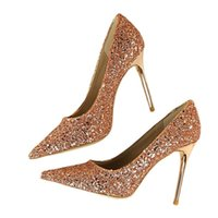 Dress Shoes 2021 Spring Women Pumps Thin Heels Pointed Toe SequinedDecoration Sexy Bling Bridal Wedding Gold High Heel