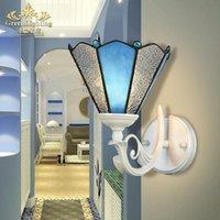 Lâmpadas de parede estilo mediterrâneo luzes azul simples europeu pastoral lâmpada de cabeceira escadas corredor espelho de tv espelho cabeça única cabeça