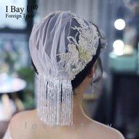 신부 베일 우아한 웨딩 헤드 드레스 2021 구슬 부드러운 얇은 명주 그물 짧은 Birdcage 액세서리