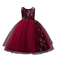 4-15 años Vestido de niños bordados para niñas Fiesta elegante vestidos de Navidad niña boda bola vestido de niño ropa rojo negro 210331