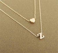 Smjel Bijoux صغير القلب الأولي طبقة مزدوجة قلادة المرأة شخصية رسالة قلادة 26 رسالة اسم مجوهرات صديقة هدية 1622 v2