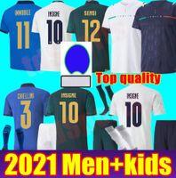 Adult Men Kit Kit 2021 Italia Soccer Jerseys Insigne Immobile de Rossi Third Renaissance Belotti Totti Youthi Bambino Kit da calcio Camicia