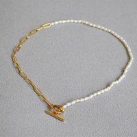 Chokers Vintage Freshwater Millet Pearl Slender Buckle Golden Chain OT Short Choker Necklace For Women Korean Fashion Jewelry Gift