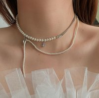 Chokers Timeless Wonder Glam Faux Pearl Zirconia Choker Necklace For Women Punk Ins Trendy Kpop Designer Jewelry Party Gothic Egirl 5411